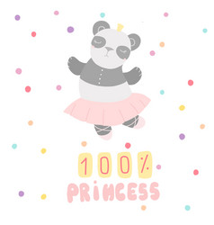 Cute childrens card panda ballerina lettering vector