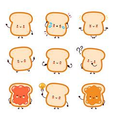 Cute funny happy bread toast character set vector