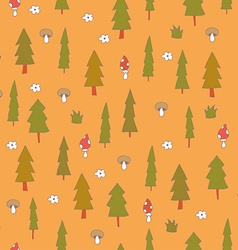 Cute seamless pattern with forest trees vector image