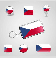 Czech republic country flag on keychain and map vector