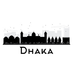Dhaka city skyline black and white silhouette vector