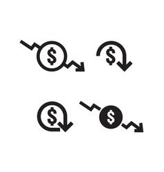 Dollar decrease icon set money symbol with arrow vector