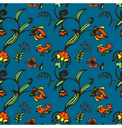 Doodle bird and flower seamless pattern vector image