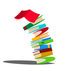 falling down stack of book huge pile of vector image
