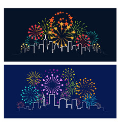 Fireworks city skyline vector