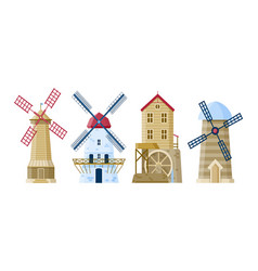 flat mills collection on white background vector image