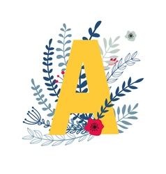 Floral alphabet letter a vector