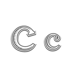 Font tattoo engraving letter C vector