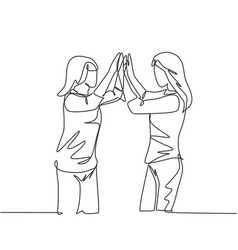 friendship concept single line drawing two vector image
