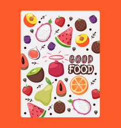Fruit poster with isolated icons vector
