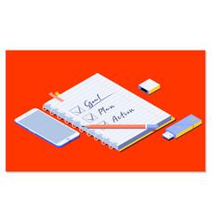 Goalplanaction text on notepad with office vector