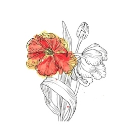 Hand drawn with tulips vector