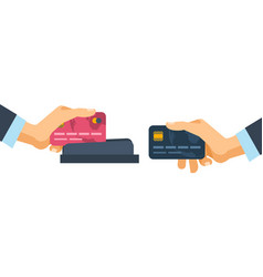 Hands holding credit plastic cards used in vector