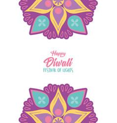 happy diwali festival lights floral mandala vector image