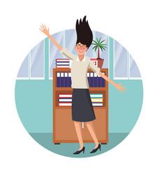 happy executive businesswoman vector image