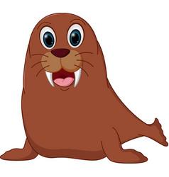 happy walrus cartoon vector image