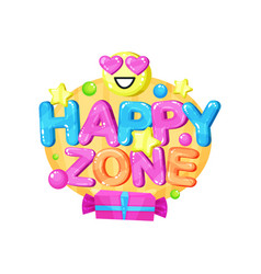 happy zone logo bright colorful emblem for vector image