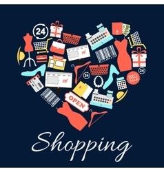 I love shopping emblem in shape heart vector