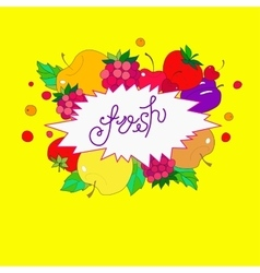 image lettering fresh in the frame from fruits vector image