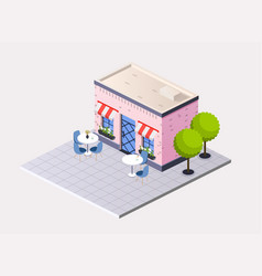 isometric restaurant cafe with outdoor tables vector image