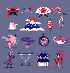 Japan travel set vector