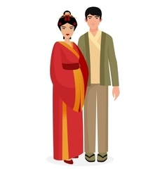 Japanese family Japan man and woman couple in vector