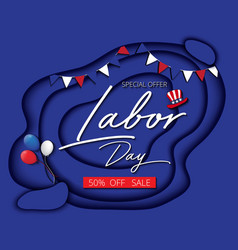 labor day sale promotion advertising banner blue vector image