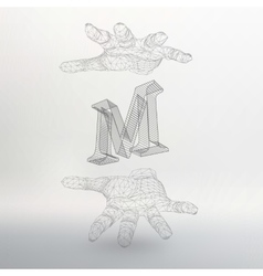 Letter M and hand of lines vector