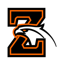 Letter z with eagle head vector