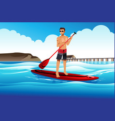 man paddle boarding in the ocean vector image