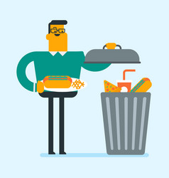 Man throwing out junk food into the trash can vector