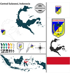 Map of Central Sulawesi vector image