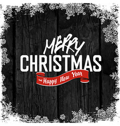 Merry christmas greeting on wooden black vector