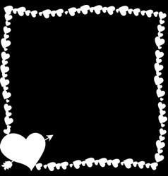 monochrome vintage border made of hearts with vector image