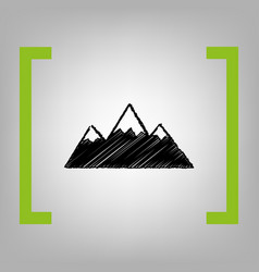 mountain sign black scribble vector image