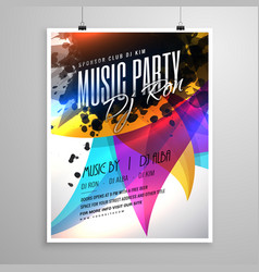 Music party flyer template design with colorful vector