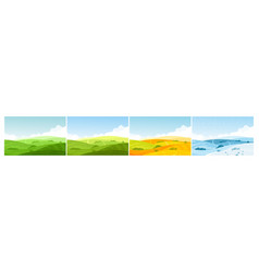 nature field landscape in four seasons cartoon vector image
