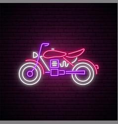 Neon motorcycle sign bright neon motorcycle vector