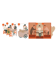 People eating and talking in chinese restaurant vector