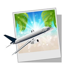 Photo frame with seaside and plane vector