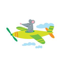 Pilot rat in plane vector