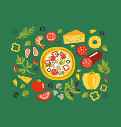 pizza surrounded with different ingredients for it vector image