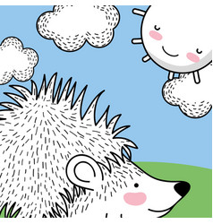 Porcupine animal with happy sun and clouds vector