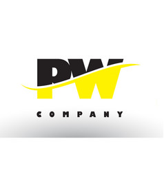 Pw p w black and yellow letter logo with swoosh vector