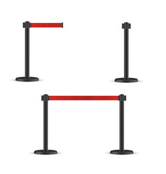 Retractable belt stanchion set portable ribbon vector
