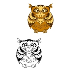 Retro stylized brown owl bird mascot vector