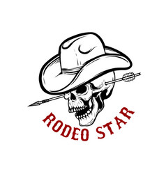 rodeo star skull with arrow in head design vector image