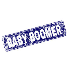Scratched baby boomer framed rounded rectangle vector