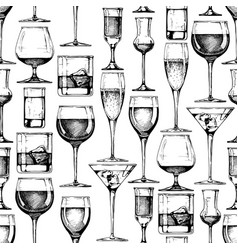 seamless pattern with different glasses goblets vector image vector image