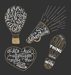 set adventure lettering for greeting cards and vector image